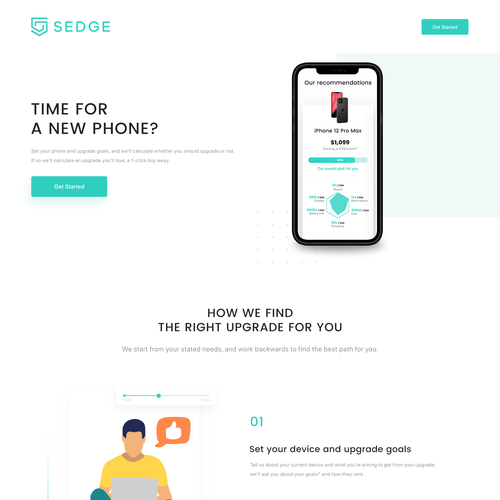 Call to action design with the title 'Device upgrade landing page'