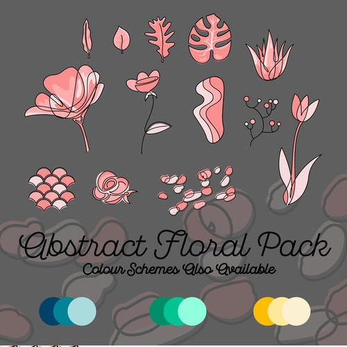 Leaf artwork with the title 'Abstract Floral Vector package. '