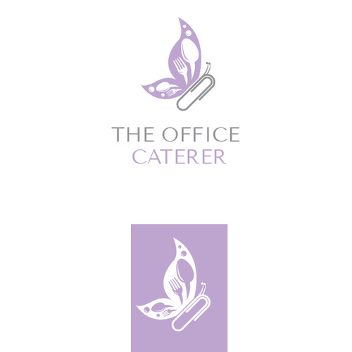 Butterfly brand with the title 'Clever logo for The Office Caterer'