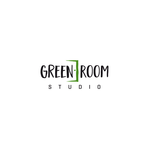 Room design with the title 'Green Room Studio'
