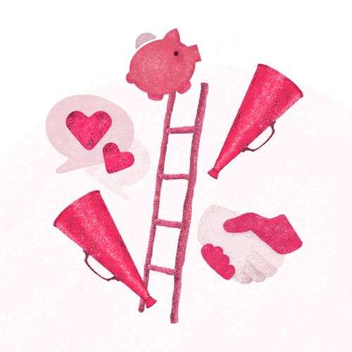 Ladder design with the title 'Hero illustration for a fundraising platform'