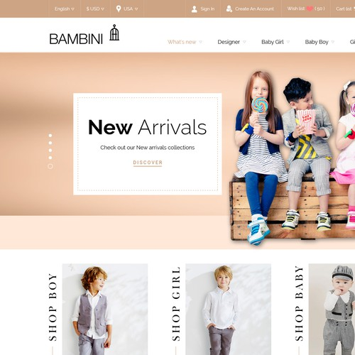 Children's website with the title 'Bambini Children cloth wear store'