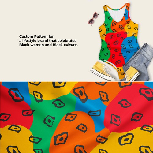 African artwork with the title 'Bodysuit Pattern for women inspired by African culture'