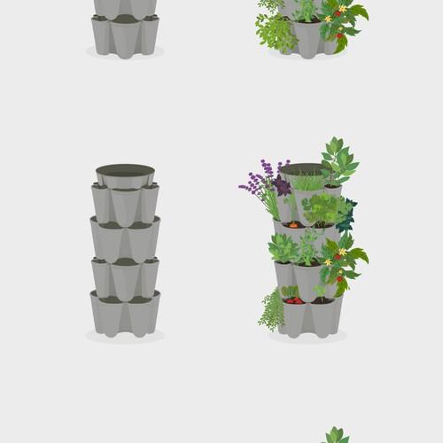 Plant illustration with the title 'Illustration of a GreenStalk Vertical Planter!'