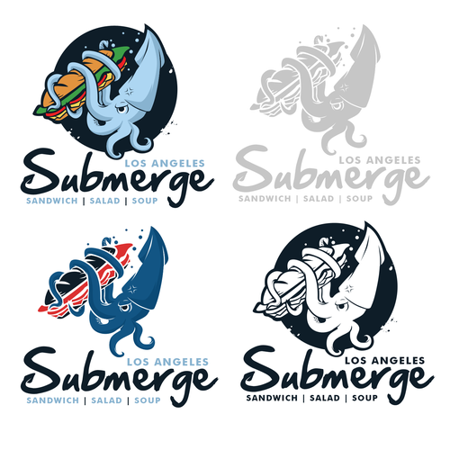 Sandwich shop logo with the title 'SUBMERGE'