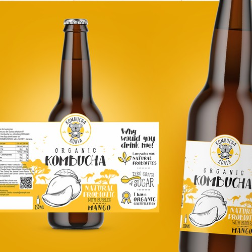 Lemonade design with the title 'Labels Organic Kombucha'