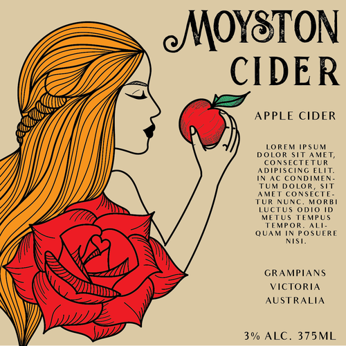 Hair label with the title 'Label for apple cider'