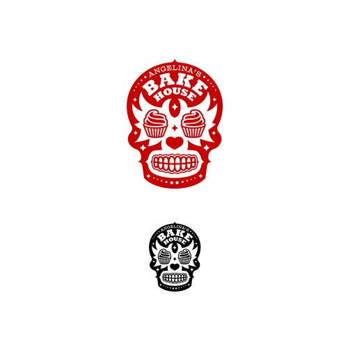 Sugar skull design with the title 'Angelina's Bake House'