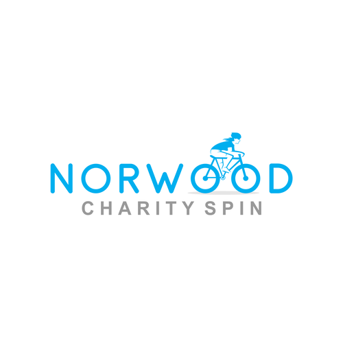 Gray and blue design with the title 'norwoon charity spin'