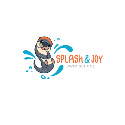 Otter design with the title 'Playful logo-design for Children swimming center '