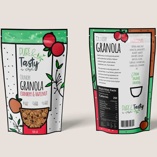 Granola packaging with the title 'GRANOLA'