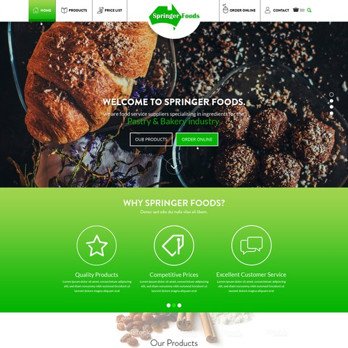 """Bakery website with the title '""""Modern New Web Design for Wholesale Foodservice Co""""'"""