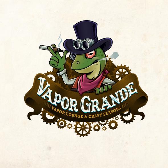Lizard design with the title 'Create a Killer SteamPunk Vapor Lounge Logo'