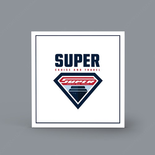 Superhero brand with the title 'Super man concept logo for cruise travel company'