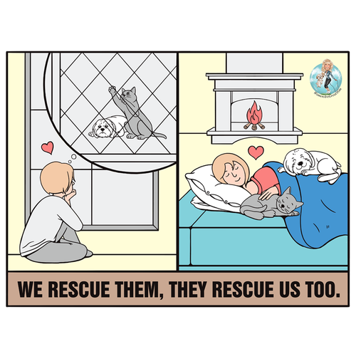 Cartoon t-shirt with the title 'Rescue'