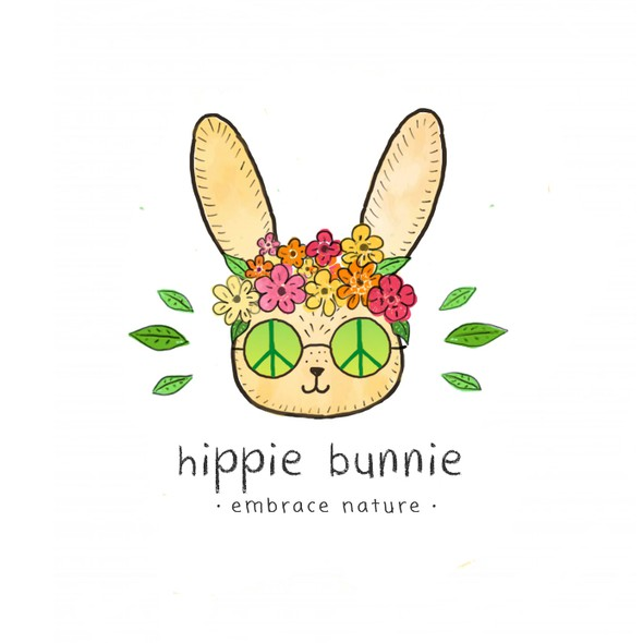 70s design with the title 'A fun logo with a hippie bunny'