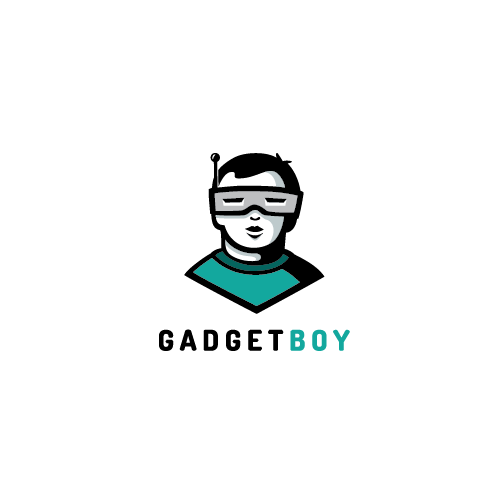 Boy logo with the title 'Logo concept for gadget shop'