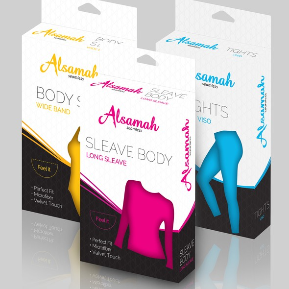 Feminine packaging with the title 'Package for Body Slip'