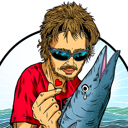 Tuna design with the title 'Illustration for a Fishing team T-shirt.'