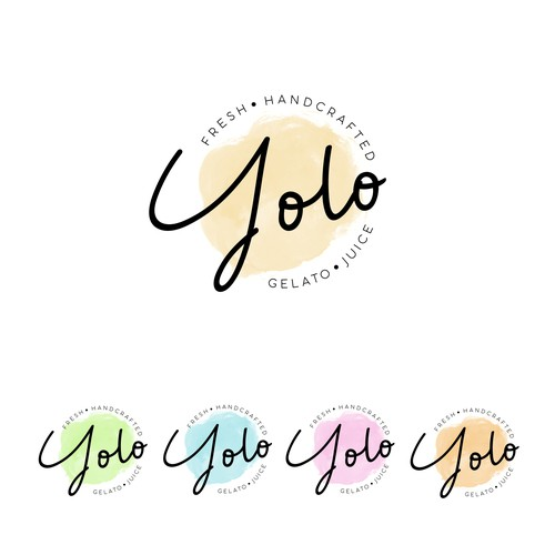 Gelato design with the title 'yolo , fresh handcrafted gelato juice'