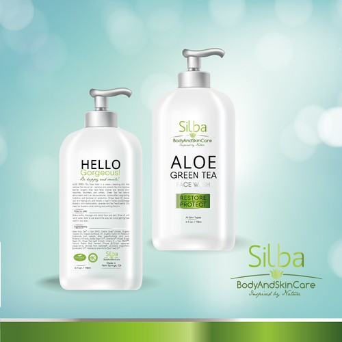 Tonic design with the title 'Organic Face Wash Label with Aloe and Green Tea'