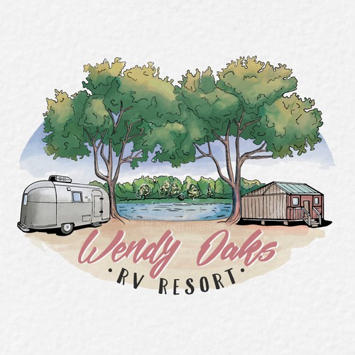 Painting logo with the title 'Wendy Oaks Resort'