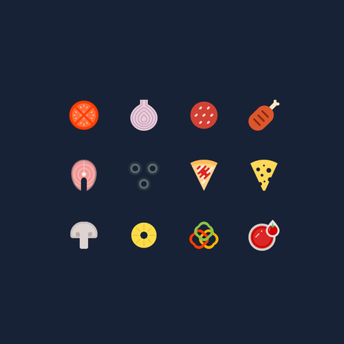 Pizzeria design with the title 'Pizza icons'