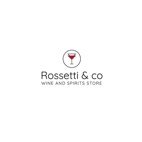 Wine glass logo with the title 'wine and spirits store Logo'