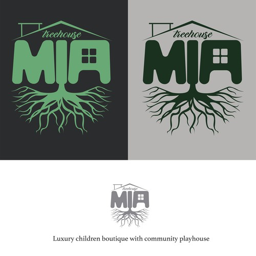 Playground logo with the title 'MIA TREEHOUSE LOGO PROPOSAL'