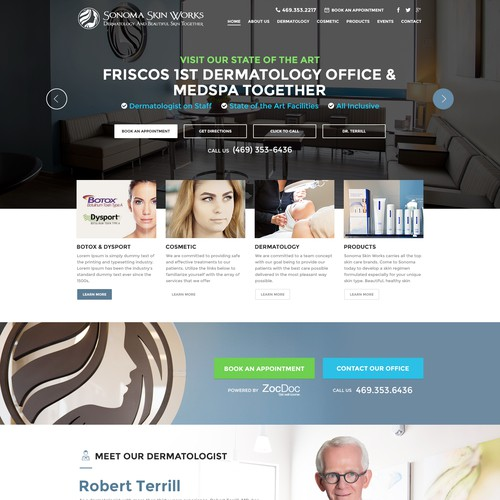 Dental design with the title 'Sonoma Skin Works Website Project'