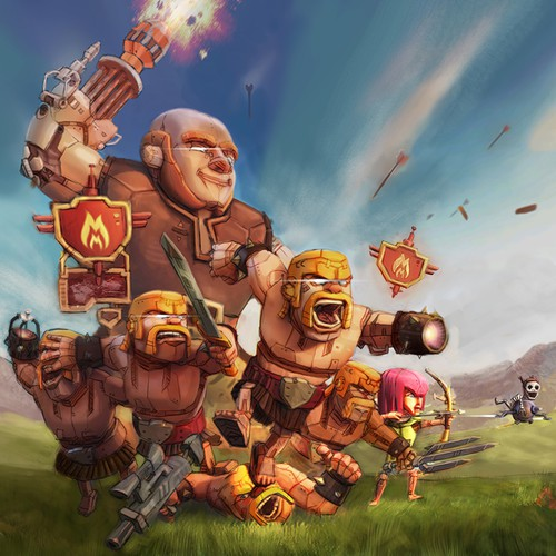 Game illustration with the title 'Clash of Clans Robot Drawing'