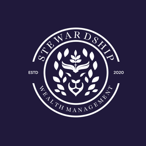 Lion head logo with the title 'Stewardship Wealth Management'