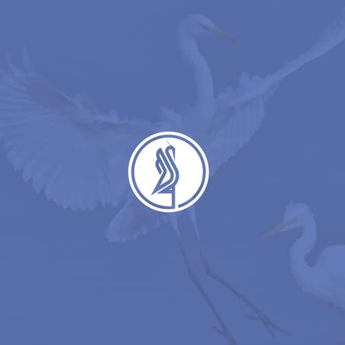 Heron logo with the title 'blue heron'