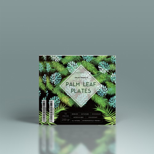 Eco label with the title 'Floral Palm concept for Eco-Plates'