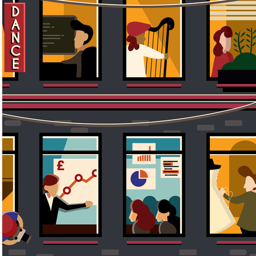 People illustration with the title 'Poster illustration concept for Foundation Scotland'