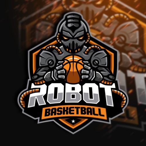 Orange and white logo with the title 'Robot Basketball'