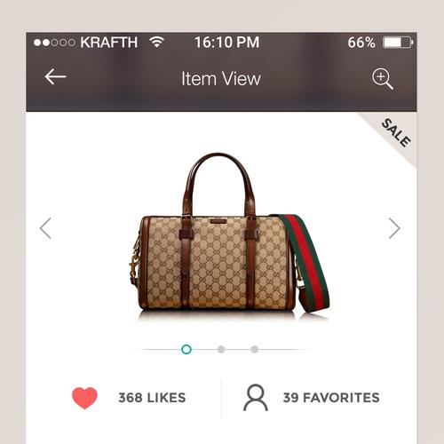 Closet design with the title 'Virtual Closet iOS - UI'