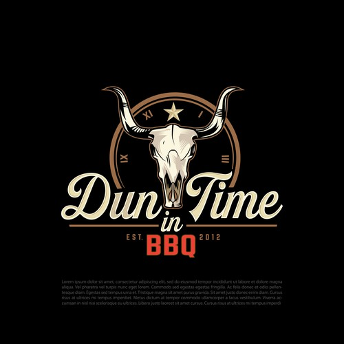 BBQ chicken logo with the title 'Dun in Time BBQ'
