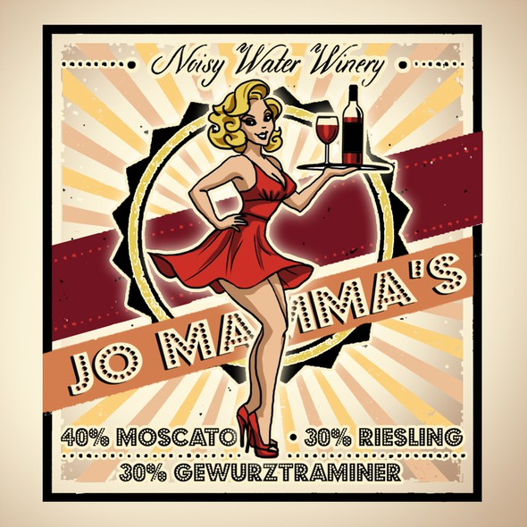 Retro design with the title 'Sexy icon design for a Winery Label'