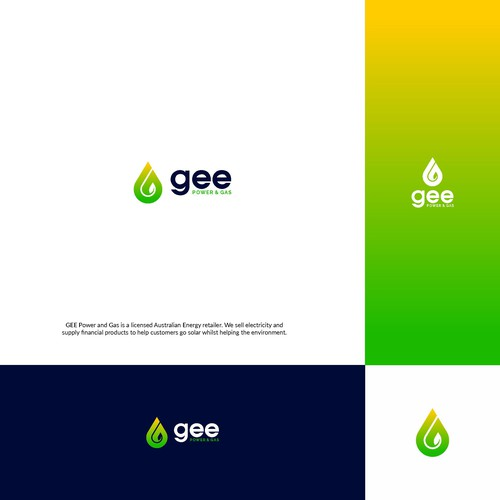 Water drop design with the title 'GEE LOGO CONCEPT'