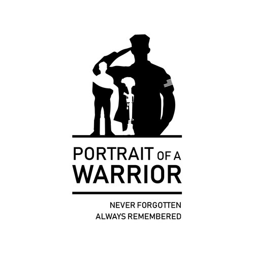 Art gallery logo with the title 'Logo for 'Portrait of a Warrior''