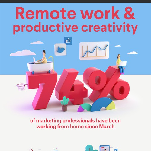 Infographic illustration with the title 'Remote Work Infographic'