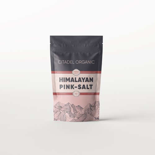 Mountain label with the title 'Himalayan Pink Salt'