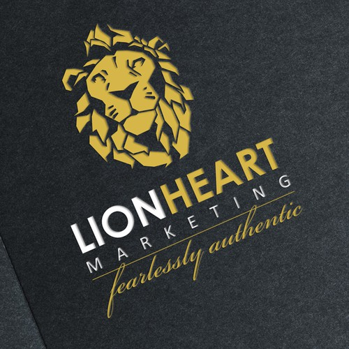 Lion head logo with the title 'Lionheart Marketing logo'