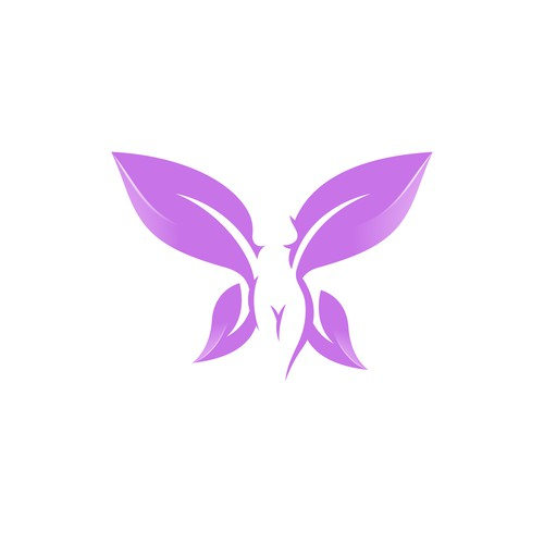 Butterfly logo with the title 'Woman Butterfly - Leaves'