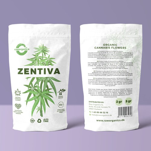 Raw packaging with the title 'Raw Organics Zendica '
