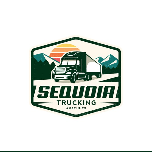 Truck logo with the title 'Retro hat logo for a trucking company! '