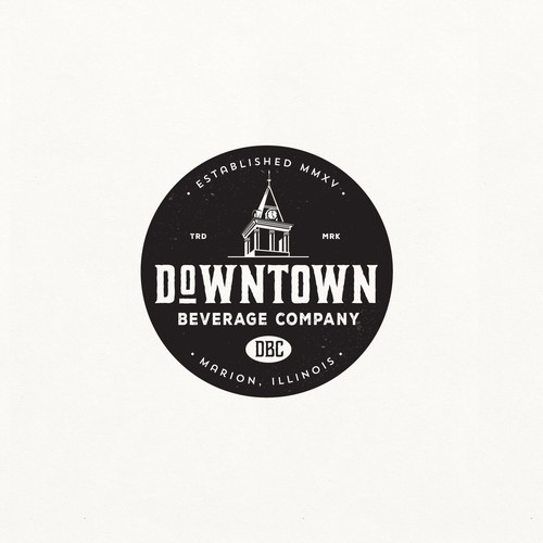 Beverage logo with the title 'LOGO DESIGN FOR DOWNTOWN BEVERAGE CO.'