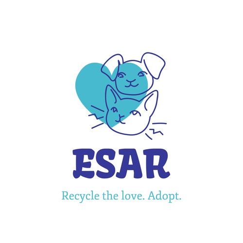 Kitty logo with the title 'ESAR. Recycle the love. Adopt.'