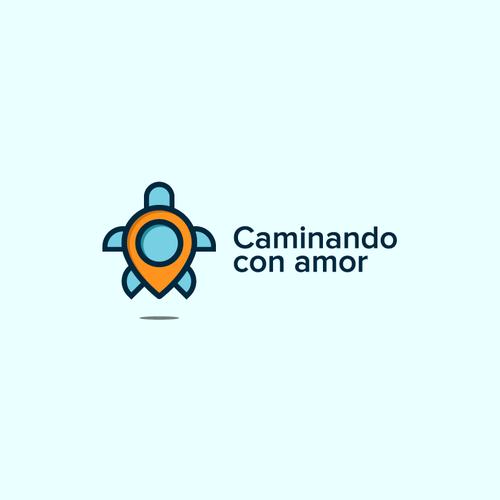 Location pin logo with the title 'Caminando con Amor'